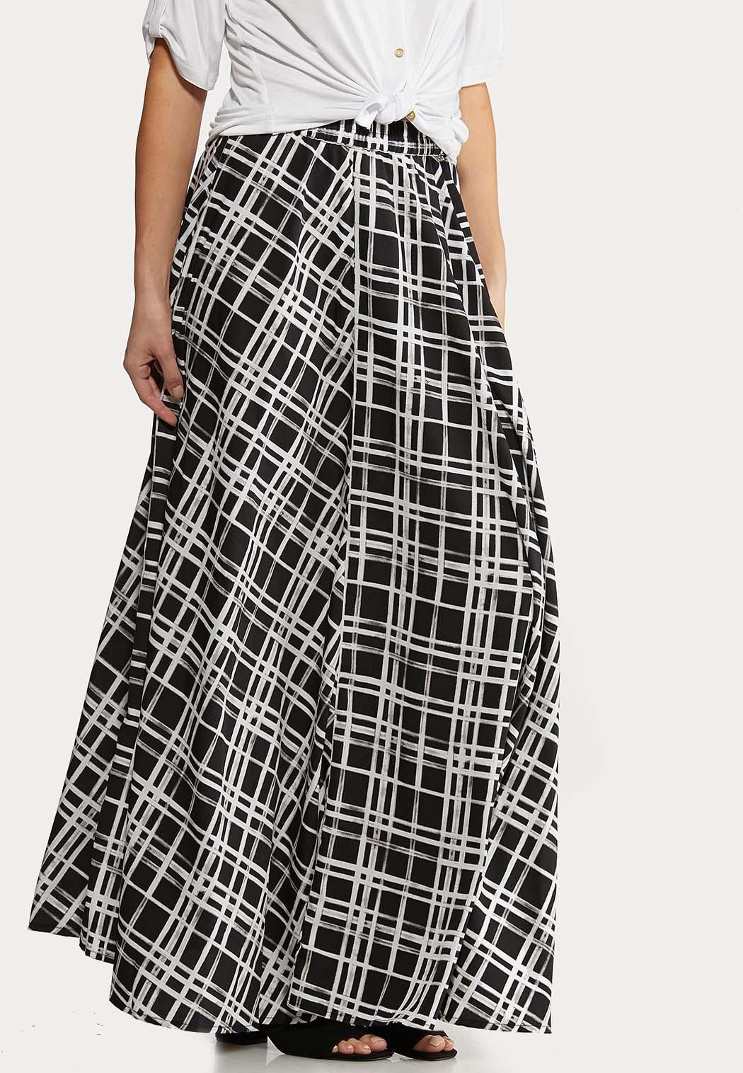 Windowpane Maxi Skirt