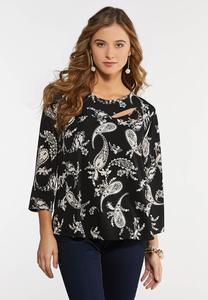 Plus Size Black Paisley Dressy Knit Top