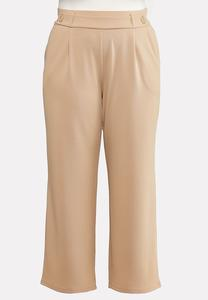 Plus Size Textured Button Trouser Pants