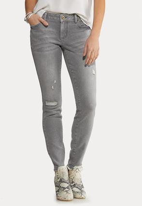 Gray Destructed Skinny Jeans