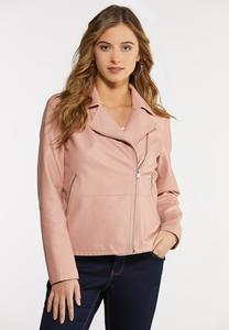 Plus Size Pink Moto Jacket