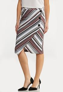 Plus Size Asymmetrical Wrap Skirt