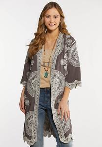 Embroidered Gray Kimono