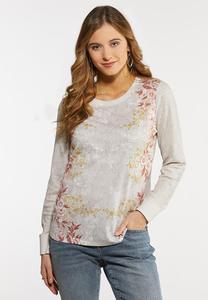 Plus Size Floral Thermal Top