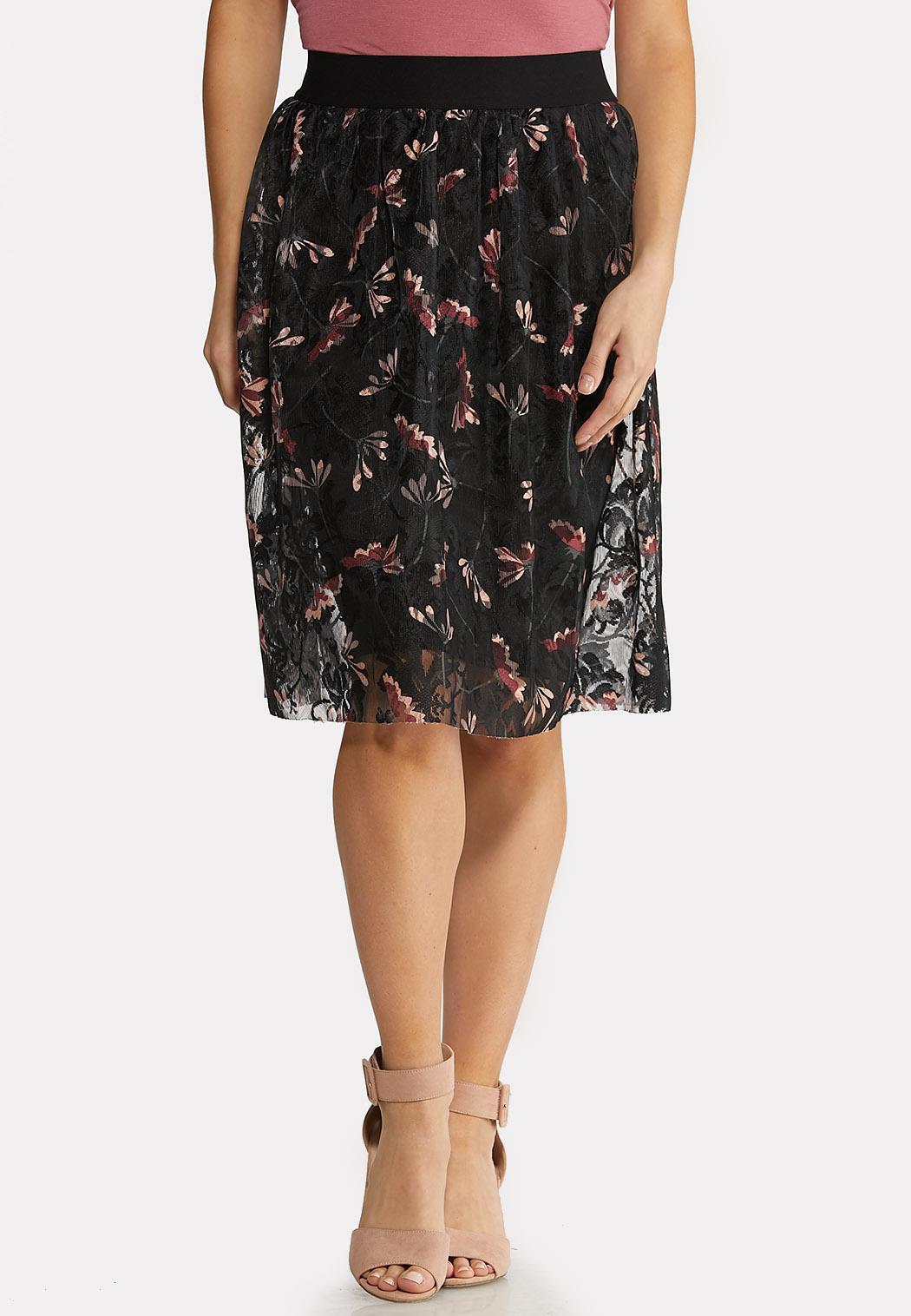 Plus Size Floral Lace Skirt