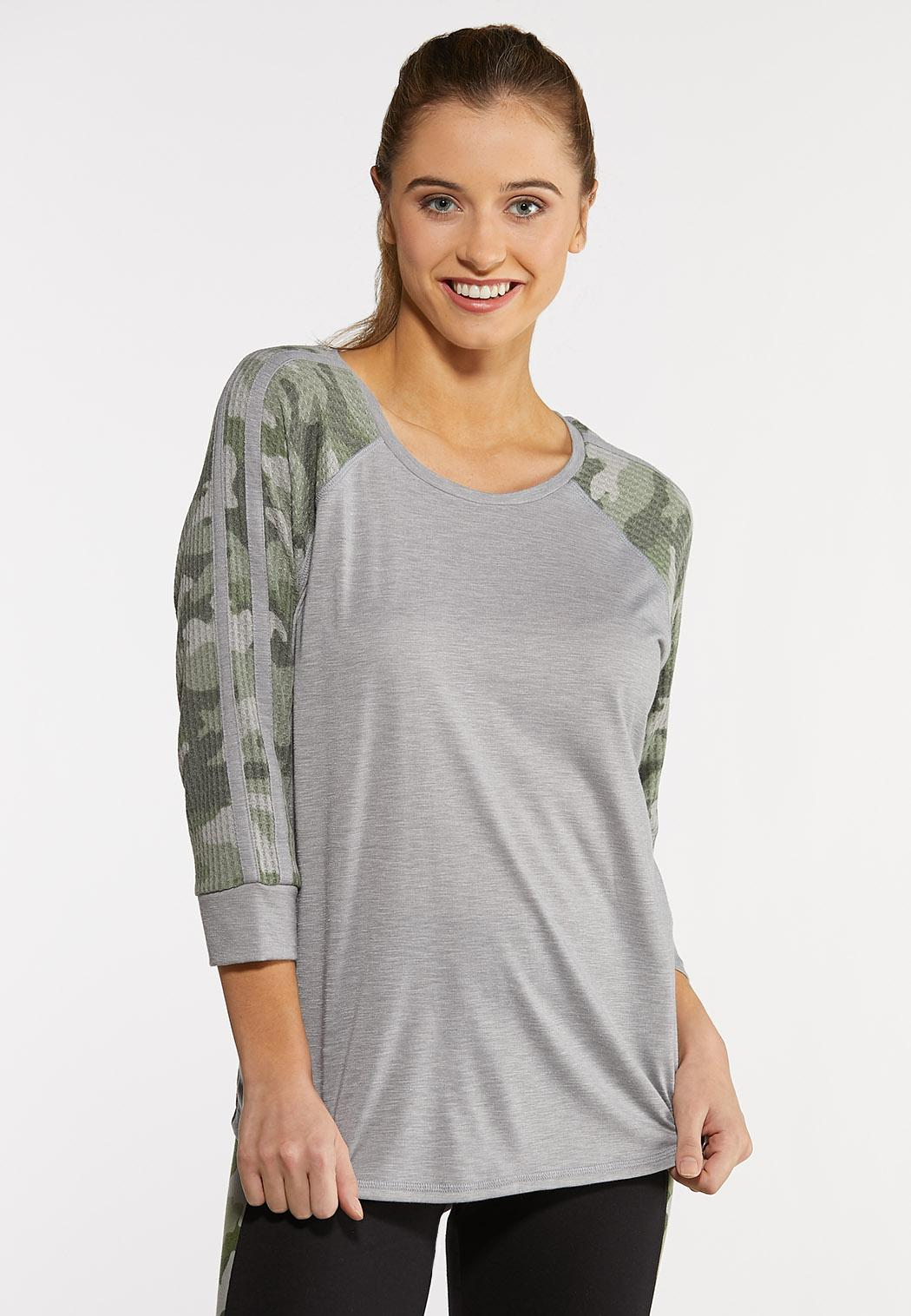 Plus Size Camo Raglan Top