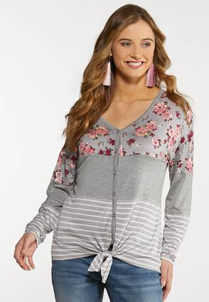 Plus Size Floral Colorblock Baseball Tee