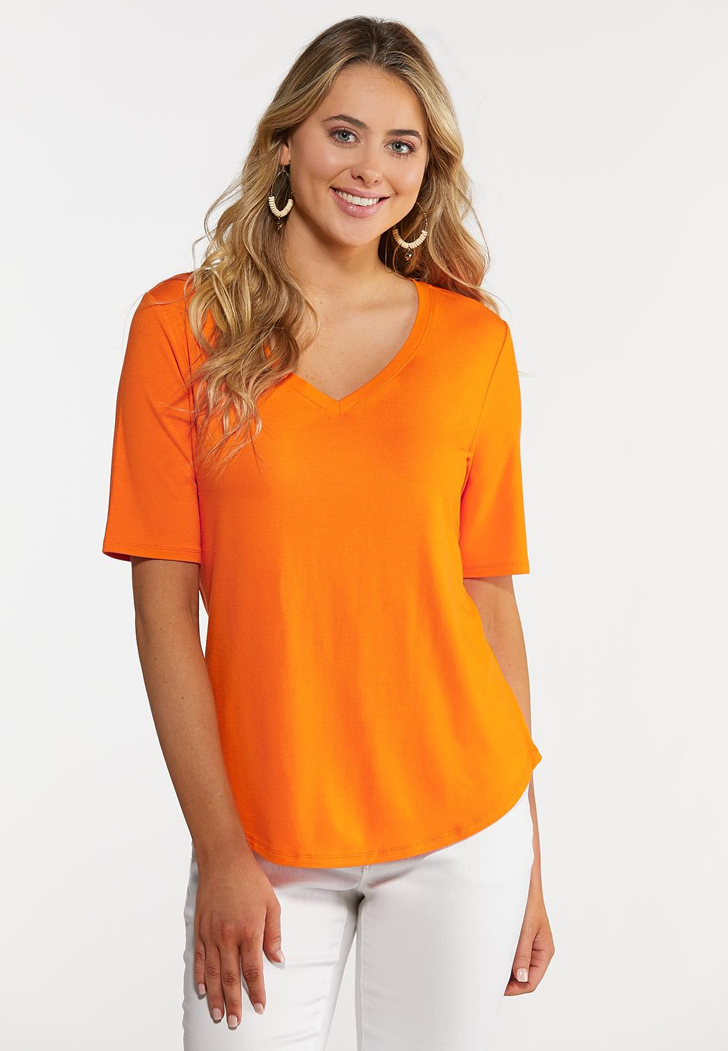 Plus Size Solid V-Neck Knit Top