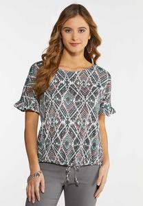 Plus Size Aztec Ruffled Sleeve Top