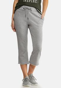 Gray Cropped Athleisure Pants