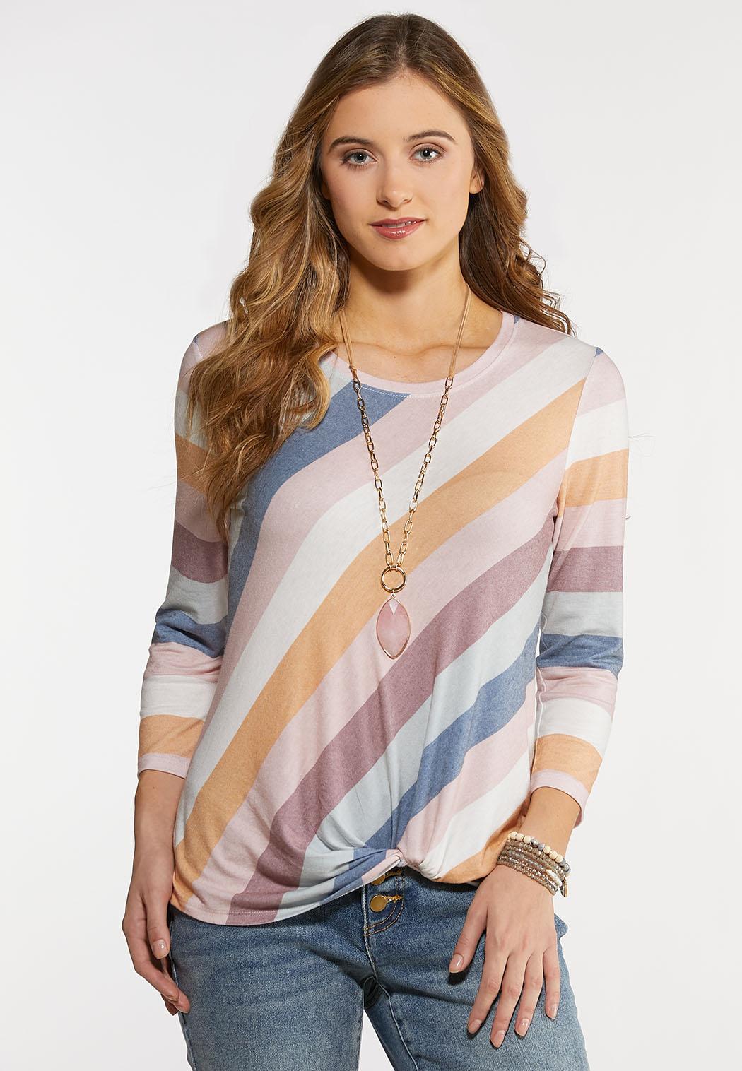 Plus Size Twisted Diagonal Stripe Tee