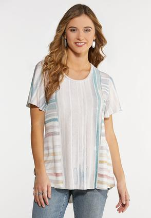 Raw Hem Stripe Top