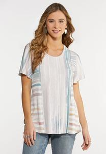 Plus Size Raw Hem Stripe Top