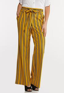 Petite Striped Paperbag Pants