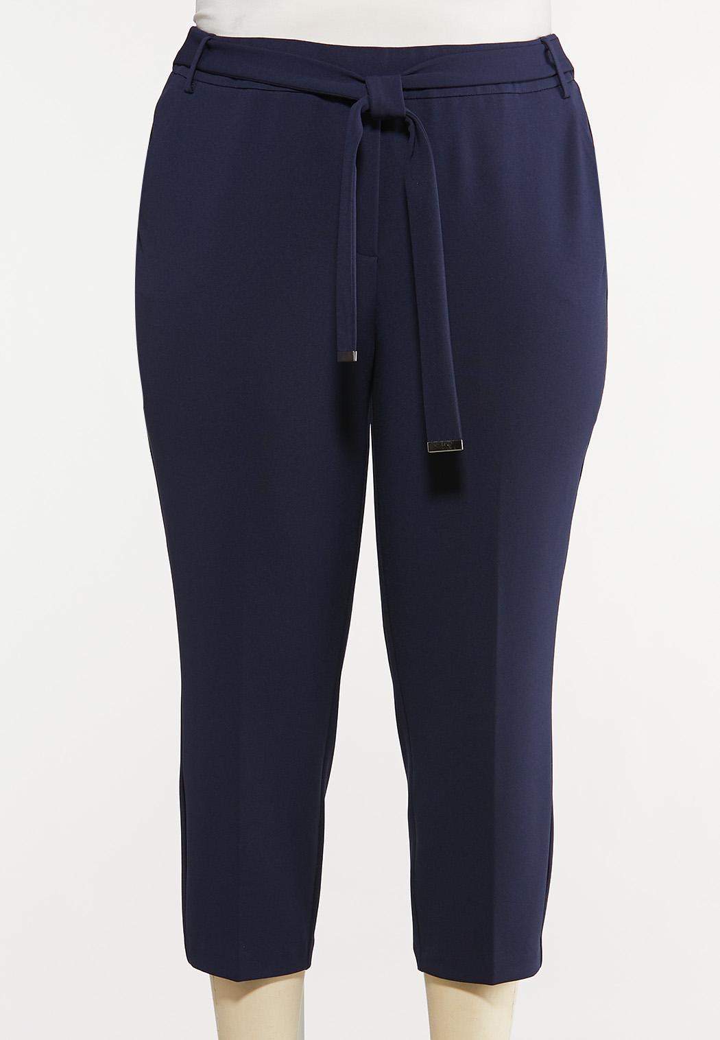 Plus Size Cropped Tie Waist Pants