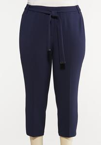 Plus Size Cropped Tie Waist Pants