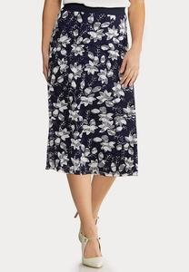 Plus Size Navy Floral Mesh Skirt