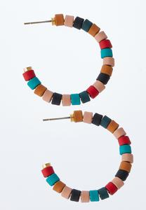Rainbow Bead Hoop Earrings