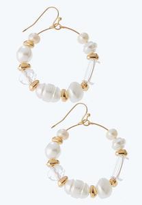 Pearl Wire Hoop Earrings
