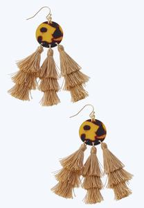 Lucite Disc Triple Tassel Earrings