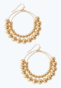 Gold Ball Layered Hoop Earrings