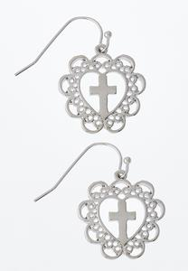 Silver Cross Heart Earrings