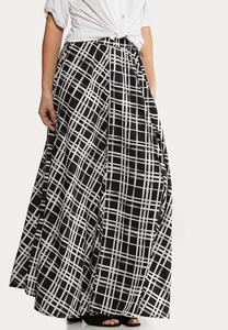 Plus Size Windowpane Maxi Skirt