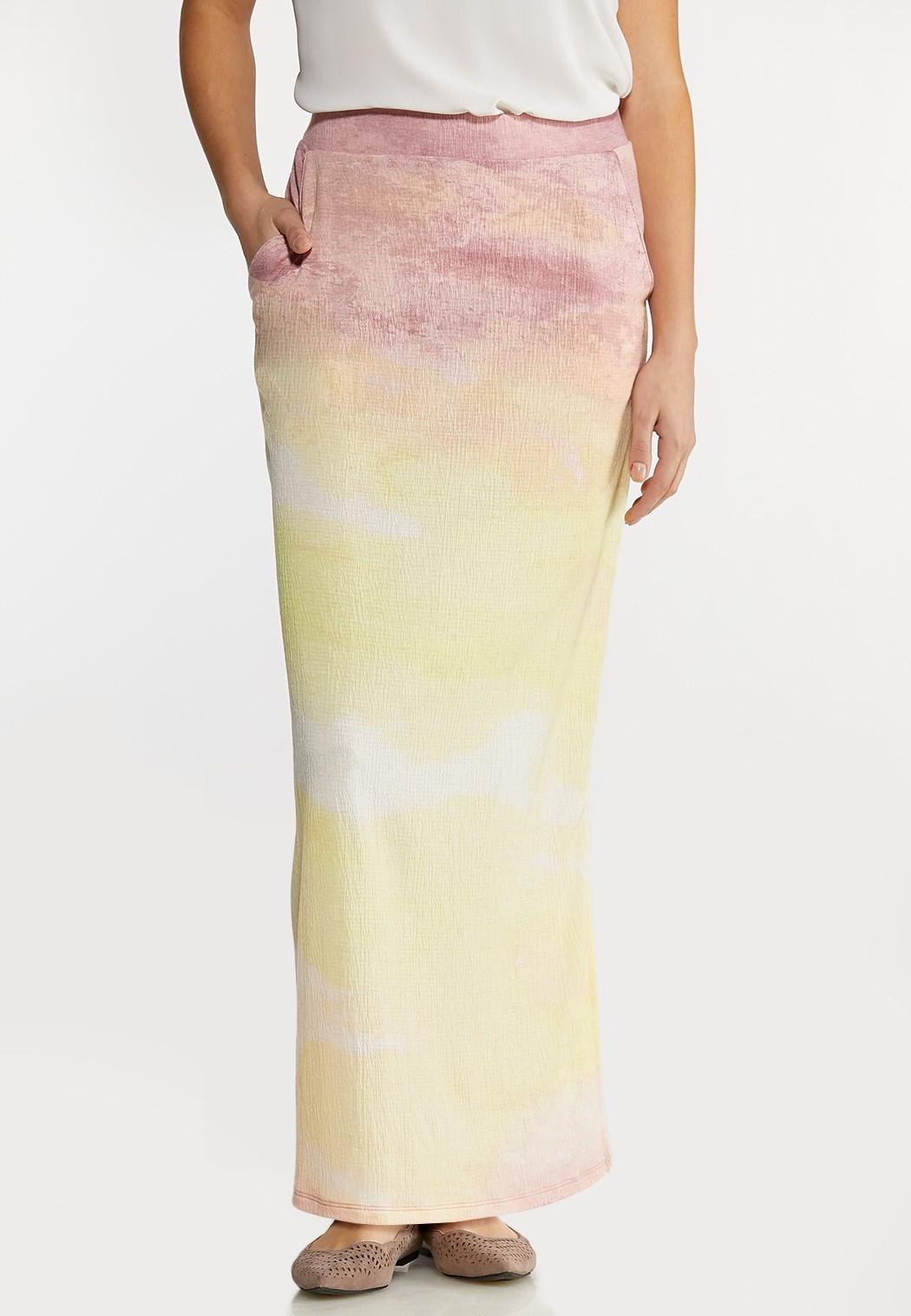 Plus Size Gauze Tie Dye Maxi Skirt