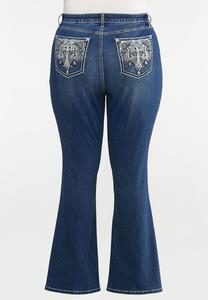 Plus Size Sequin Embellished Pocket Jeans