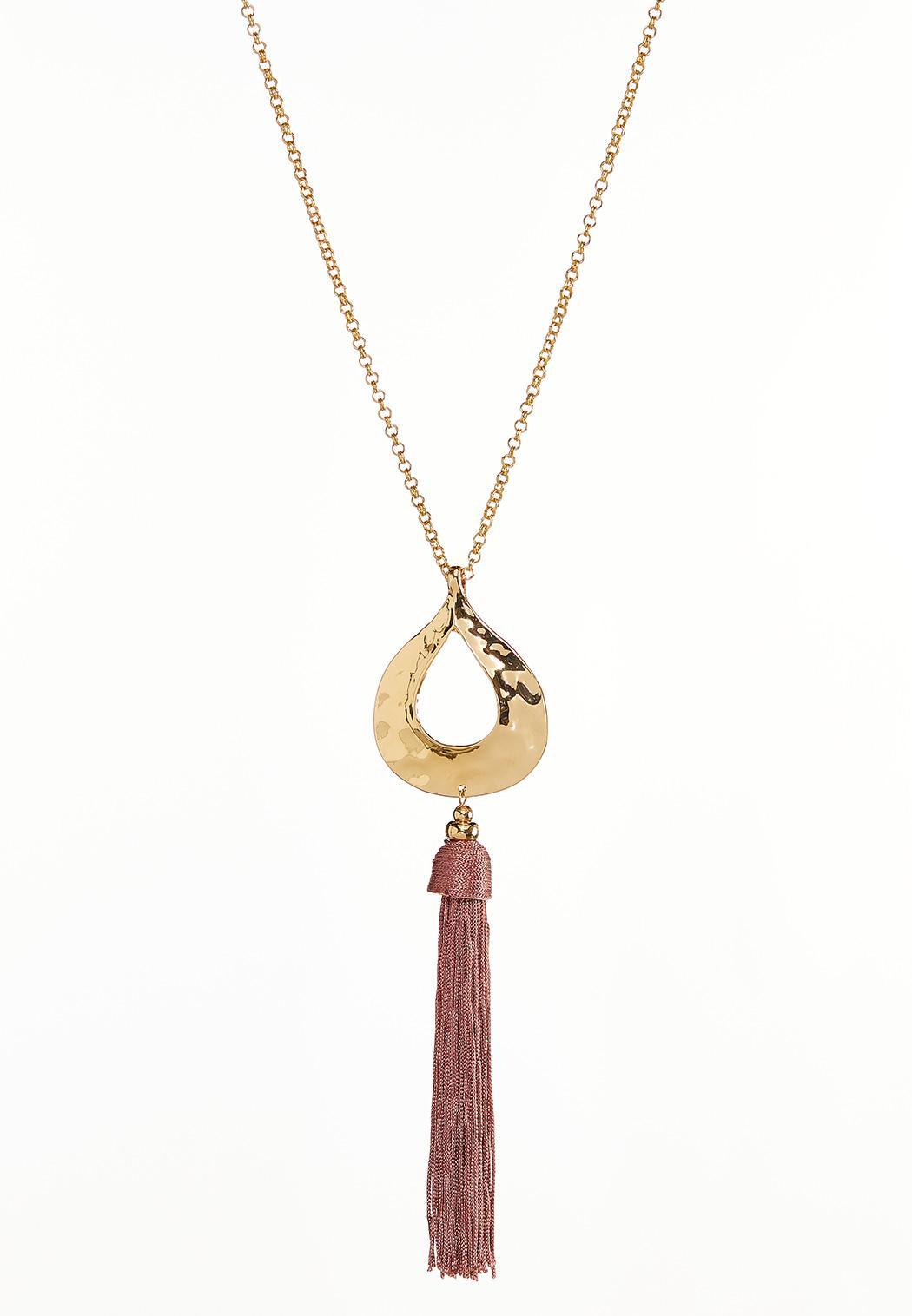 Hammered Tear Pendant Necklace
