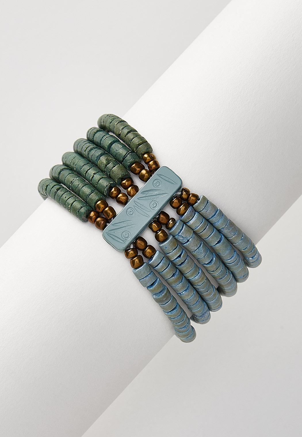 Multi Row Beaded Stretch Bracelet