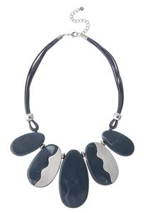 Resin Stone Cord Bib Necklace