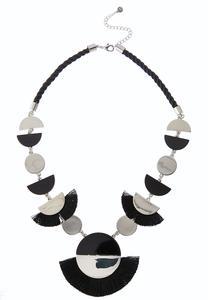 Crescent Metal Fringe Cord Necklace