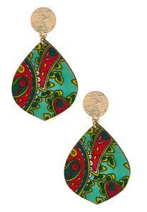 Printed Wooden Dangle Earrings