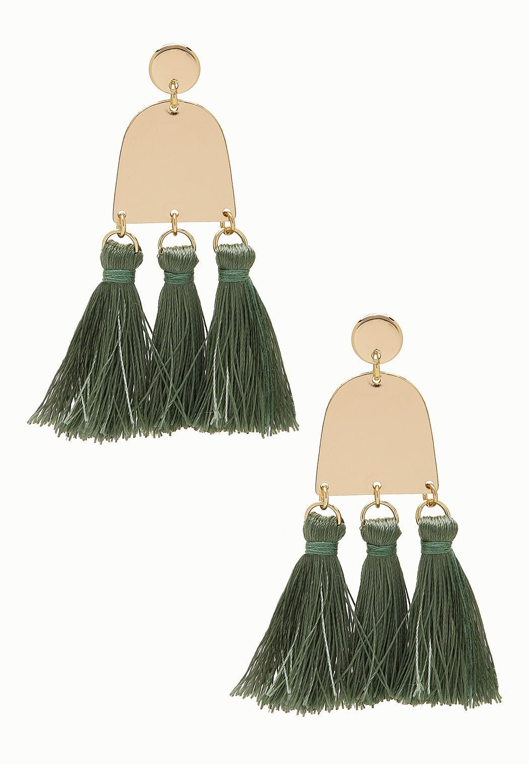Gold Plate Tassel Earrings