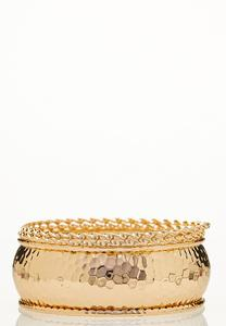 XL Wide Band Gold Bangle Set