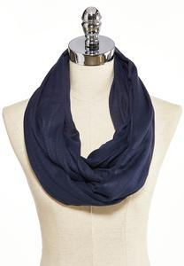 Navy Crochet Striped Infinity Scarf