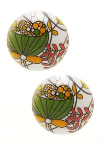 Printed Button Earrings