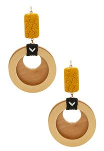Wood Circle Dangle Earrings