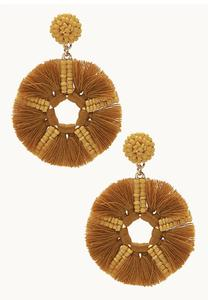 Golden Seed Bead Fringed Earrings