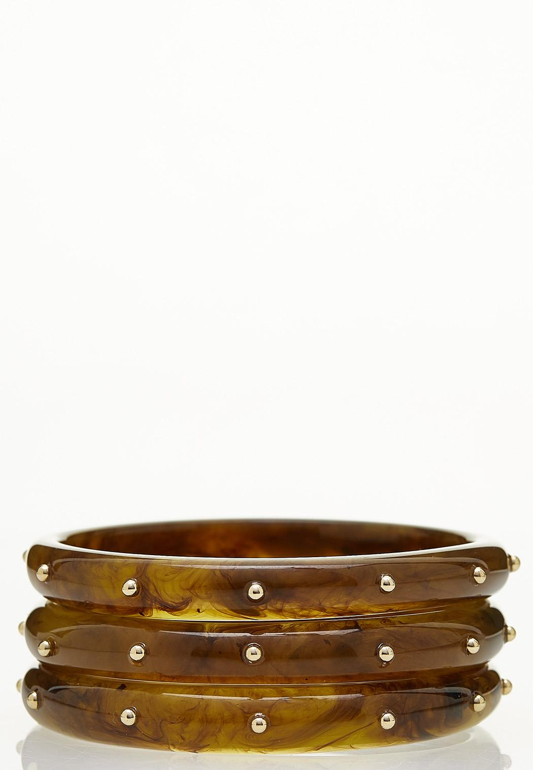 Tortoise Resin Bangle Bracelet Set