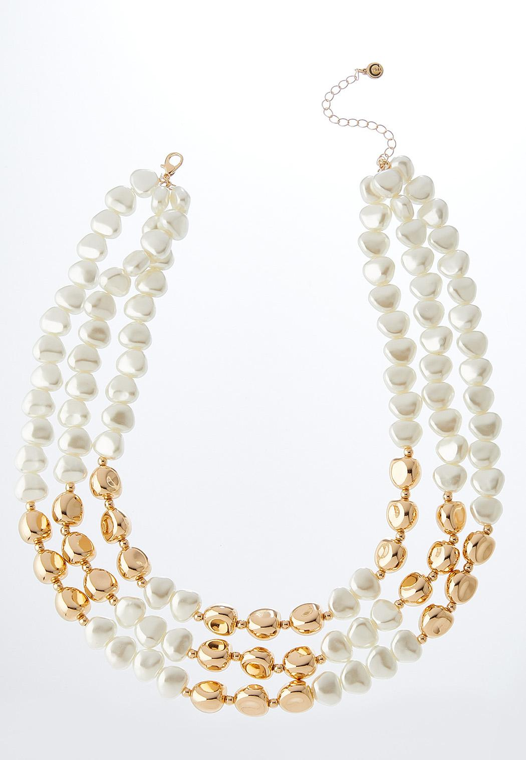 Ivory And Gold Pearl Bib Necklace
