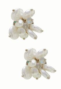 Cluster Pearl Button Earrings