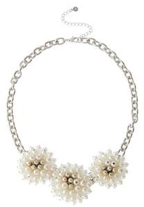 Flower Pearl Bib Necklace