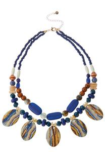 Marbled Disc Beaded Necklace