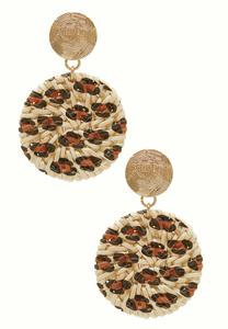 Leopard Woven Disc Earrings