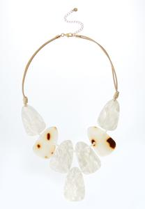 Shell Disc Corded Bib Necklace