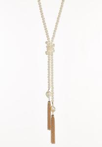 Knotted Chain Tassel Necklace