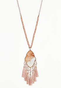 Pretty Pink Tassel Pendant Necklace