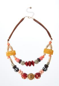 Chunky Bead Layered Cord Necklace